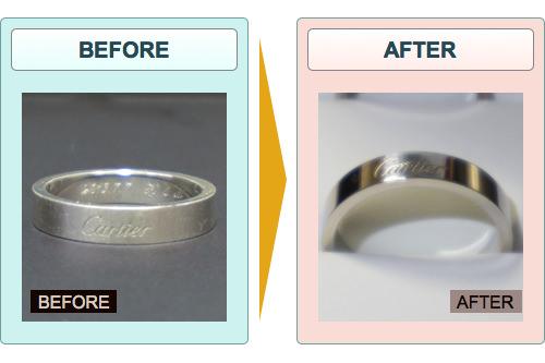 カルティエのプラチナの指輪を研磨剤(ピカール・青棒)で磨いた結果