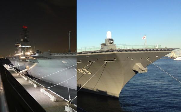 護衛艦いずもが横浜の大さん橋にきたので昼と夜に写真を撮ってきた